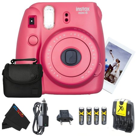 Fujifilm Instax Mini 8 Instant Film Camera (Raspberry) + 4 AA Ultra High Capacity 3100mah Rechargeable Batteries with AC/DC Travel Turbo Quick Charger + Soft Padded Carry Case + PixiBytes Exclusive Cl