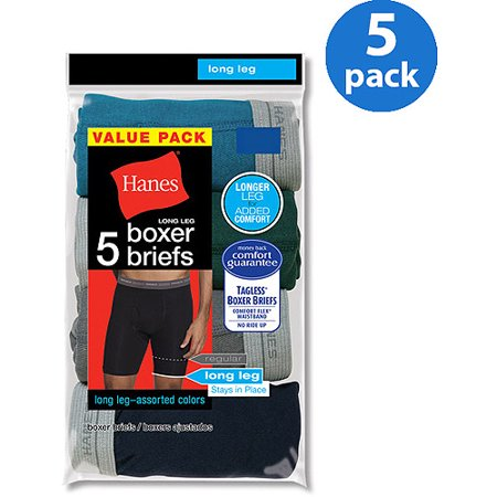 Hanes Mens FreshIQ Comfort Flex Waistband Long Leg Boxer Brief, 5-Pack, Size Small