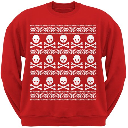 Ugly Christmas Sweaters Patterns.Big Skull And Crossbones Pattern Red Adult Sweatshirt