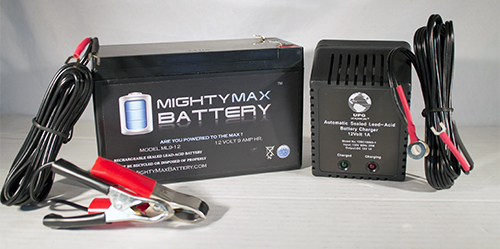 12V 9AH SLA Battery Replaces Clary UPS115K1GSBS + 12V 1Amp Charger by Mighty Max Battery