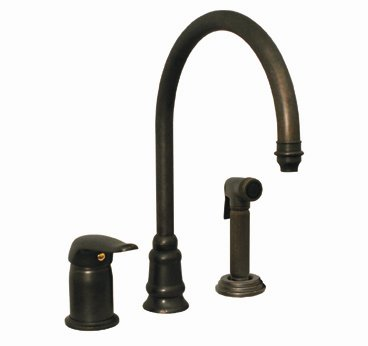 Whitehaus WH18664-AB Evolution Three Hole KItchen Faucet in Antique Brass with Side Spray