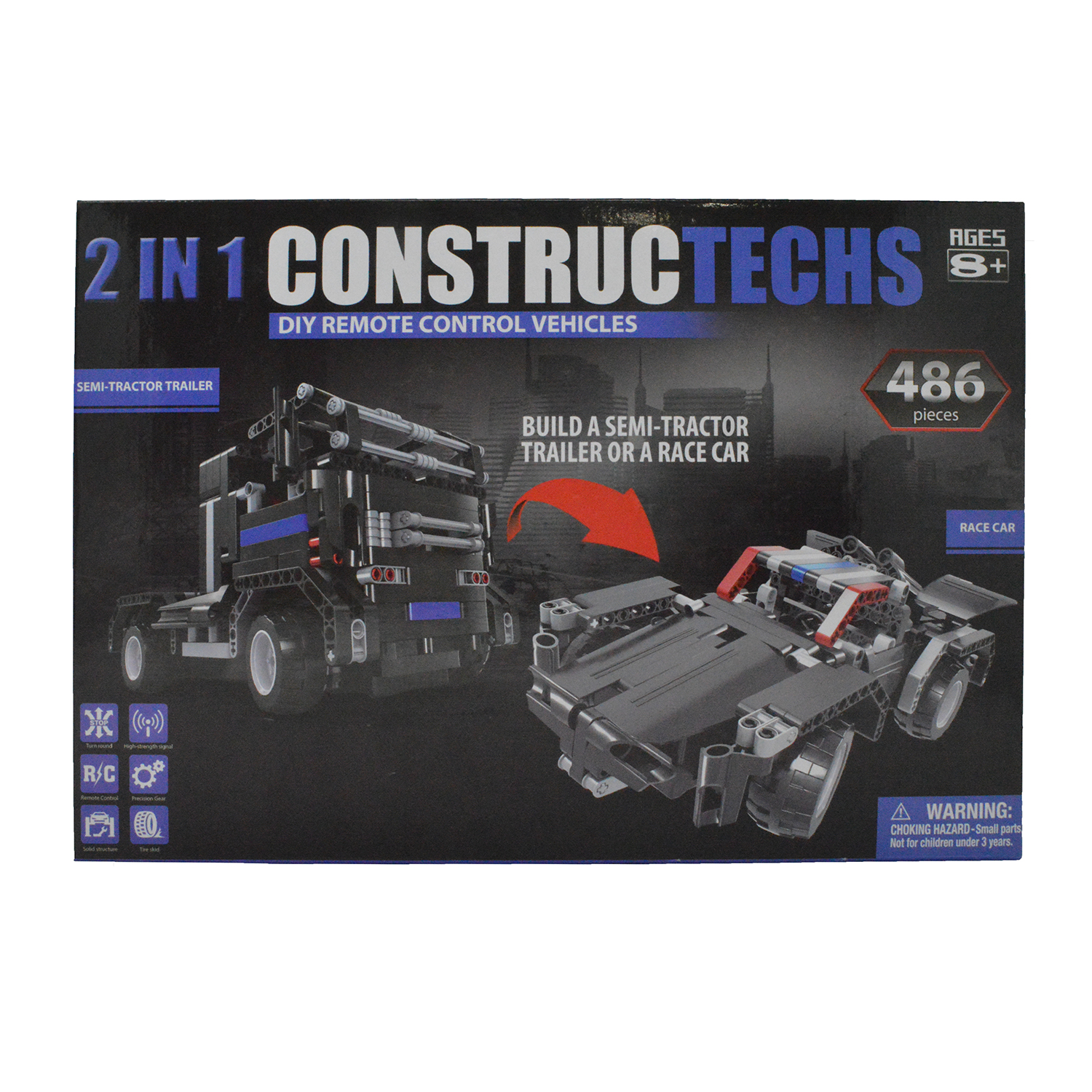 2 in 1 Constructechs DIY Remote Control Vehicles Semi-Tra...