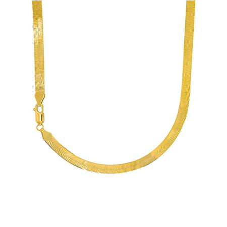 14k Solid Yellow Gold 3mm Super Flexible Silky Imperial Herringbone Necklace - 16 18 20 22 24
