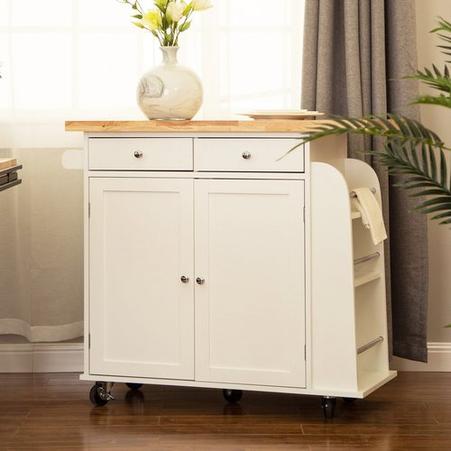 August Grove Courtland Kitchen Island with Rubberwood Top