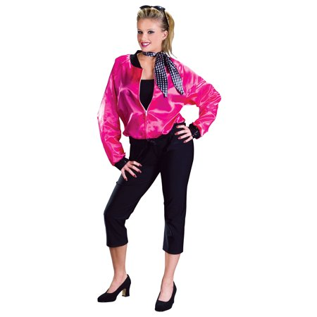 Party Costume Themes For Adults (WOMENS SASSY ROCK ROLL ADULT PINK COSTUME THEME HALLOWEEN 50s FANCY)