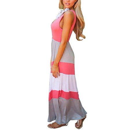 Womens Zig Zag Scoop Neck Wave Striped Tank Maxi Long Dress