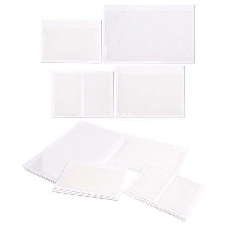 30-Pack Self-Adhesive Card Pockets with Open Sides - Ideal for Organizing and Protecting Index Cards, Business Cards or Photos - Crystal Clear Plastic, 4 Different Sizes ()