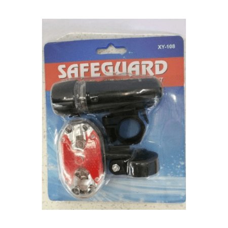 SafeGuard Bike Light Set - Best Front and Rear Lighting - Fits All