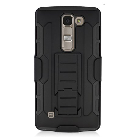 Insten Hard Hybrid Plastic Silicone Stand Case with Holster For LG Escape 2 - Black - image 2 de 3