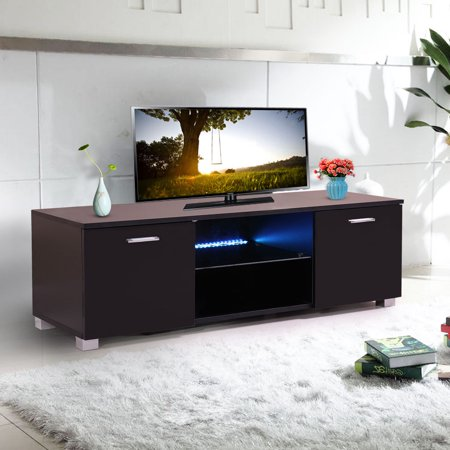 47 Tv Stand Unit Cabinet Console Living Room Furniture W Led Shelves Black