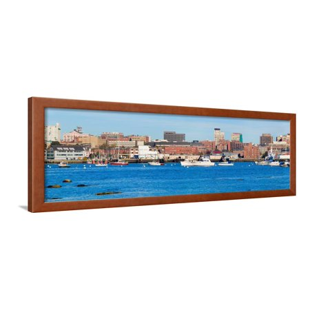 Panoramic view of Portland Harbor boats with south Portland skyline, Portland, Maine Framed Print Wall Art