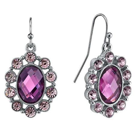 Silver-Toned Amethyst Crystal/Purple Oval Faceted Drop Earrings (Purple Amethyst Crystal)