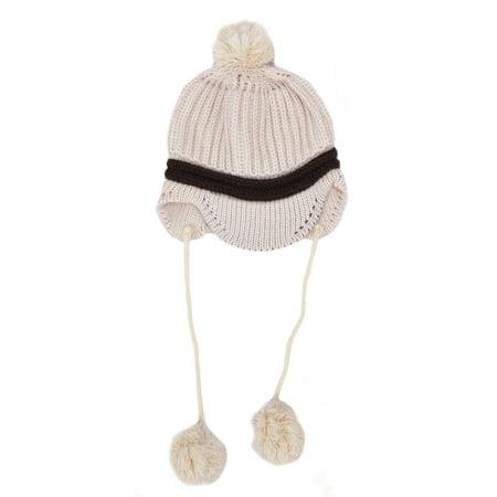 Kid's Winter Warm Multi-Patterned Design Knitted Beanie Beige2 - Free Knitting Pattern Beanie