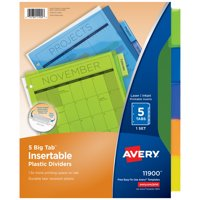 Avery Big Tab Insertable Plastic Dividers, 5-Tab Set, Multicolor (11900)