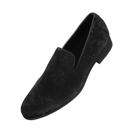 Amali Mens Crushed Velvet Smoking Slipper Nightclub Loafer, Slip On Formal Dress Shoe