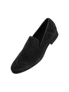 Amali Mens Crushed Velvet Smoking Slipper Nightclub Loafer, Slip On Formal Dress Shoe