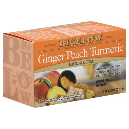 (3 pack) Bigelow, Ginger Peach with Turmeric, 18 (Ginger Peach Tea Bags)