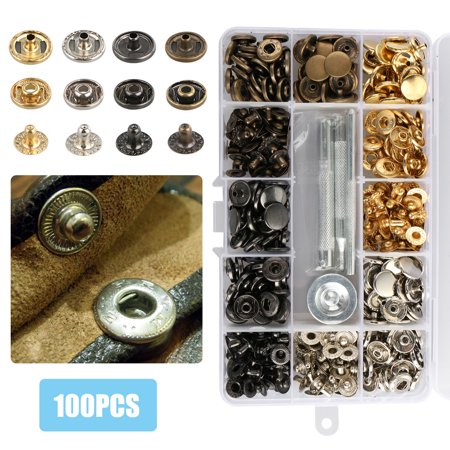 EEEKit 100 Sets Snap Fasteners Kit (12 5mm) , Metal Snap Buttons Press  Studs with 4 Pieces Fixing Tools, 4 Colors for Leather, Coat, Down Jacket,