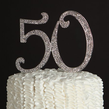 ella celebration 50 cake topper 50th birthday anniversary party silver rhinestone number party decoration (silver) - Birthday Numbers