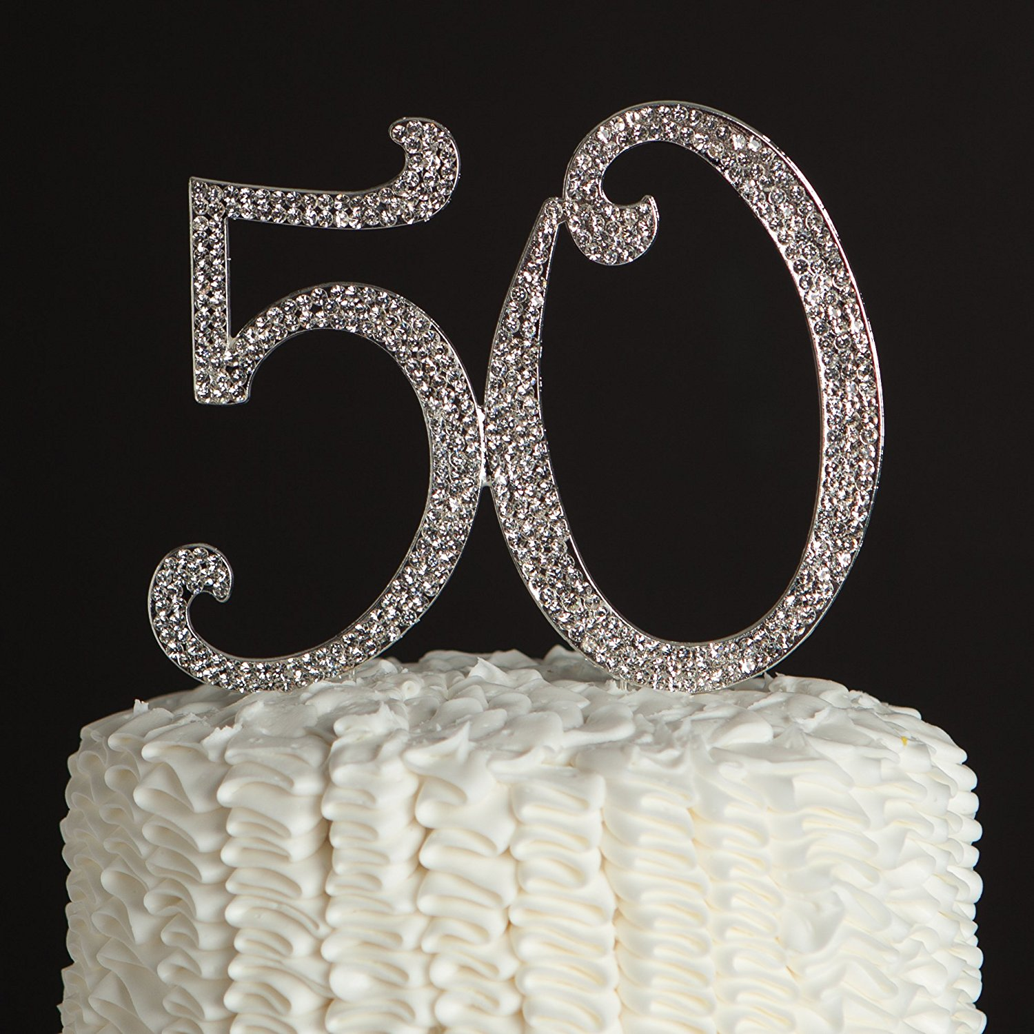 ella celebration 50 cake topper 50th birthday anniversary party silver rhinestone number party decoration (silver)