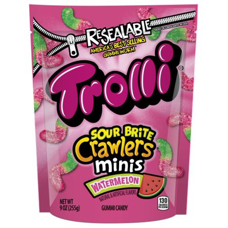 Trolli Gummy (Trolli, Sour Brite Mini Crawlers, Watermelon Gummy Candy,)