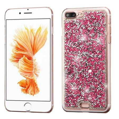 MyBat Hot Pink Mini Crystals Rhinestones Desire Hard Case Back Cover for Apple iPhone 8 Plus / iPhone 7 Plus ()
