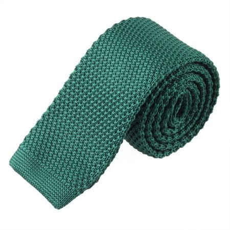 Flex Track End Ties - TOPTIE Men's Knit Solid Skinny Tie Polyester Square End 2 Inch Necktie Tie-DarkGreen