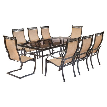 "Image of ""Hanover Outdoor Monaco 9-Piece Sling Dining Set with 42"""" x 84"""" Glass-Top Table, 6 Stationary Chairs and 2 C-Spring Chairs, Cedar"""