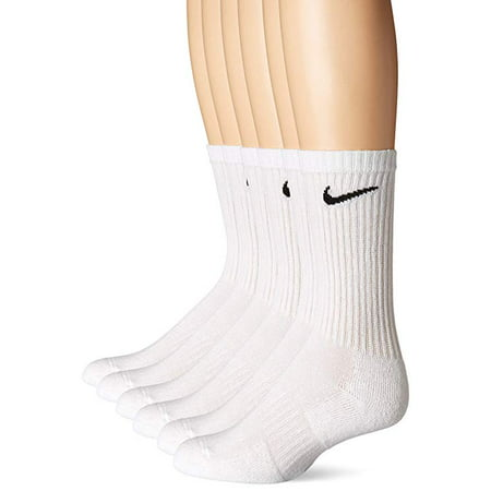 Nike Unisex Everyday Cotton Cushioned Crew Training Socks with DRI-FIT Technology, White (6 Pairs) ()