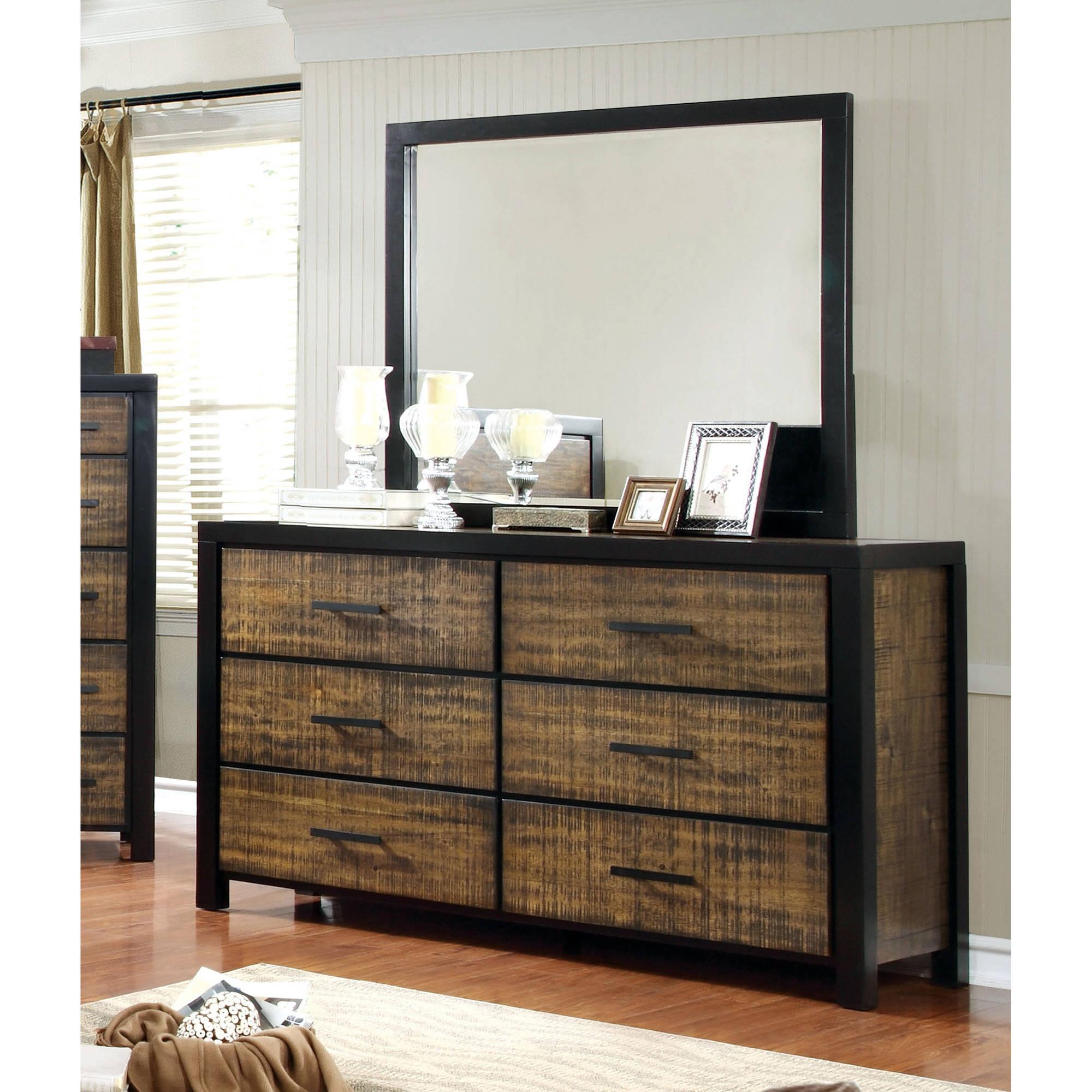Furniture of America Galena Two-Tone Dresser & Mirror Set, Black & Oak