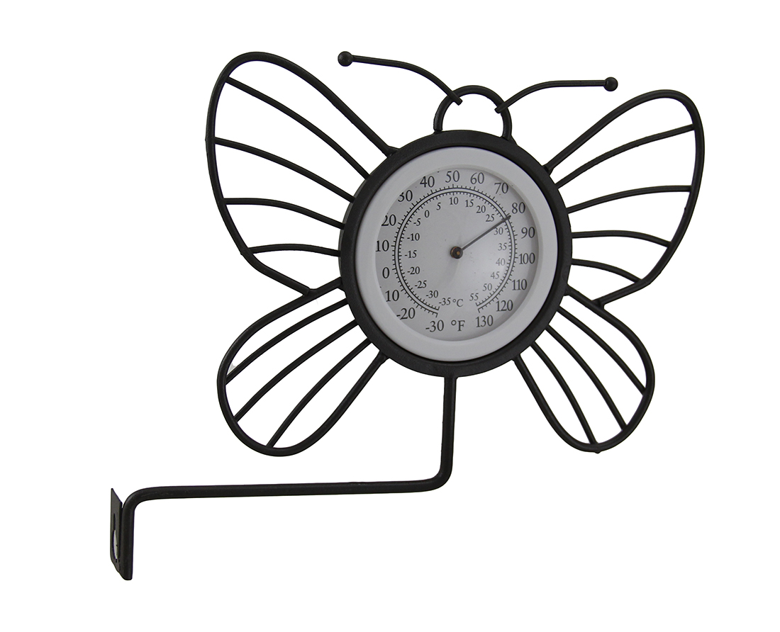 Wrought Iron Wall Mounted Butterfly Outdoor Thermometer by GREAT DISCOUNTERS