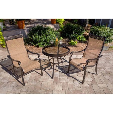 Hanover Outdoor Monaco 3-Piece Glass-Top Bistro Set with Sling Stationary Chairs, Cedar