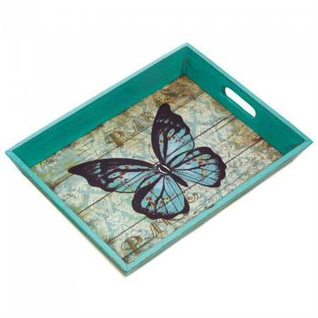 Serving Tray Rectangular, Blue Butterfly Small Modern Decor Bed Tray Breakfast (Small Serving Tray)
