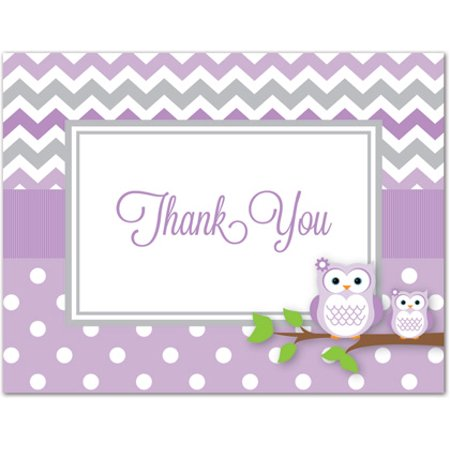 Purple Owls Baby Shower Thank You Cards and Envelopes - 50 Count (Owls Baby Shower)
