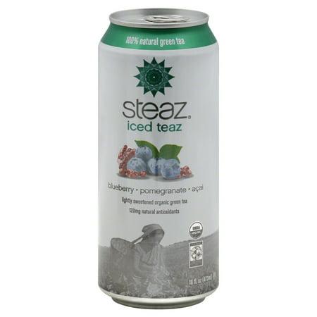 Steaz Green Tea, 100% Natural, Blueberry, Pomegranate, Acai, 16 FL OZ (Pack of