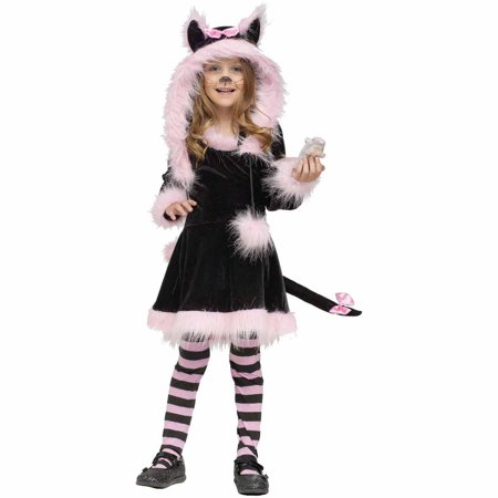 Childs Black And Pink Kitty Hood Costume - Grown Up Halloween Party