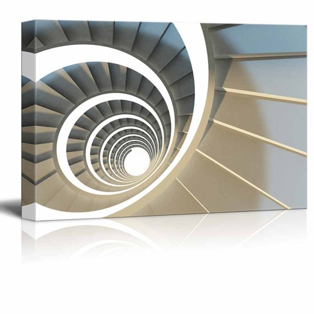 Wall26 Canvas Prints Wall Art Abstract Endless Spiral Staircase With Soft Shadows Modern Wall Decor Home Decoration Stretched Gallery Canvas Wrap Giclee Print Ready To Hang 24 X 36
