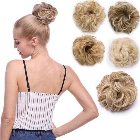 S-noilite Synthetic Hair Bun Extensions Messy Hair Scrunchies Hair Pieces for Women Hair Donut Updo Ponytail Coffee brown & Bleach blonde-30g - Blonde Ponytail
