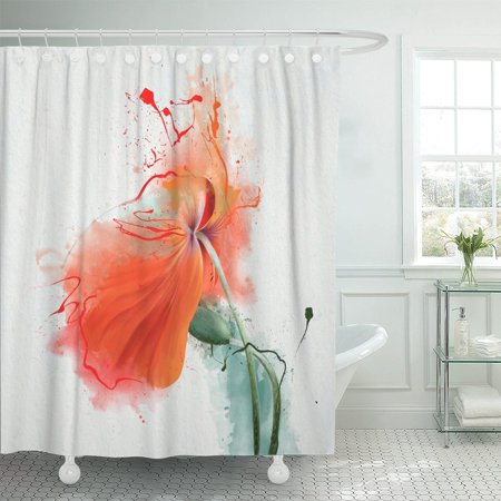 BSDHOME Gorgeous Red Poppy Bowed Under The Wind of Sketch Polyester Shower Curtain 60x72 inches - image 1 of 1