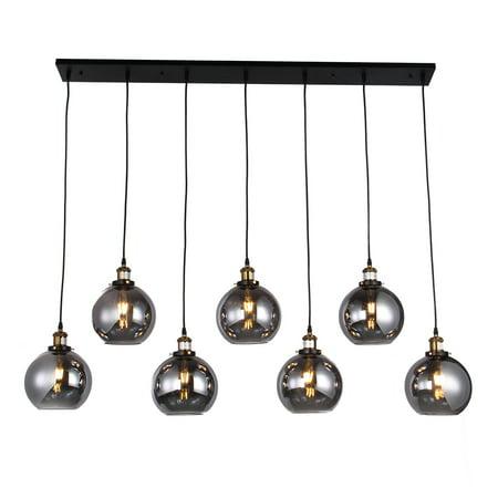 Aira Black and Bronze Metal 7-Light Linear Chandelier with 2 Light Linear Chandelier