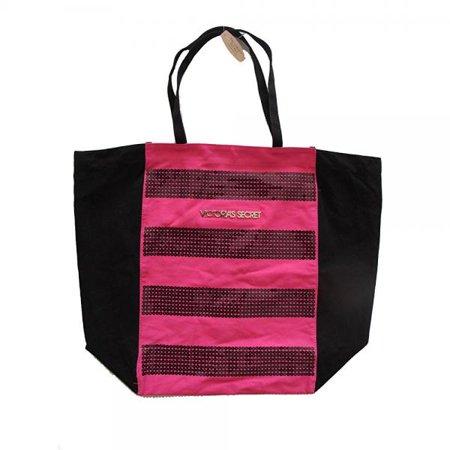 victoria's secret canvas bling sequins pink black purse tote handbag ()