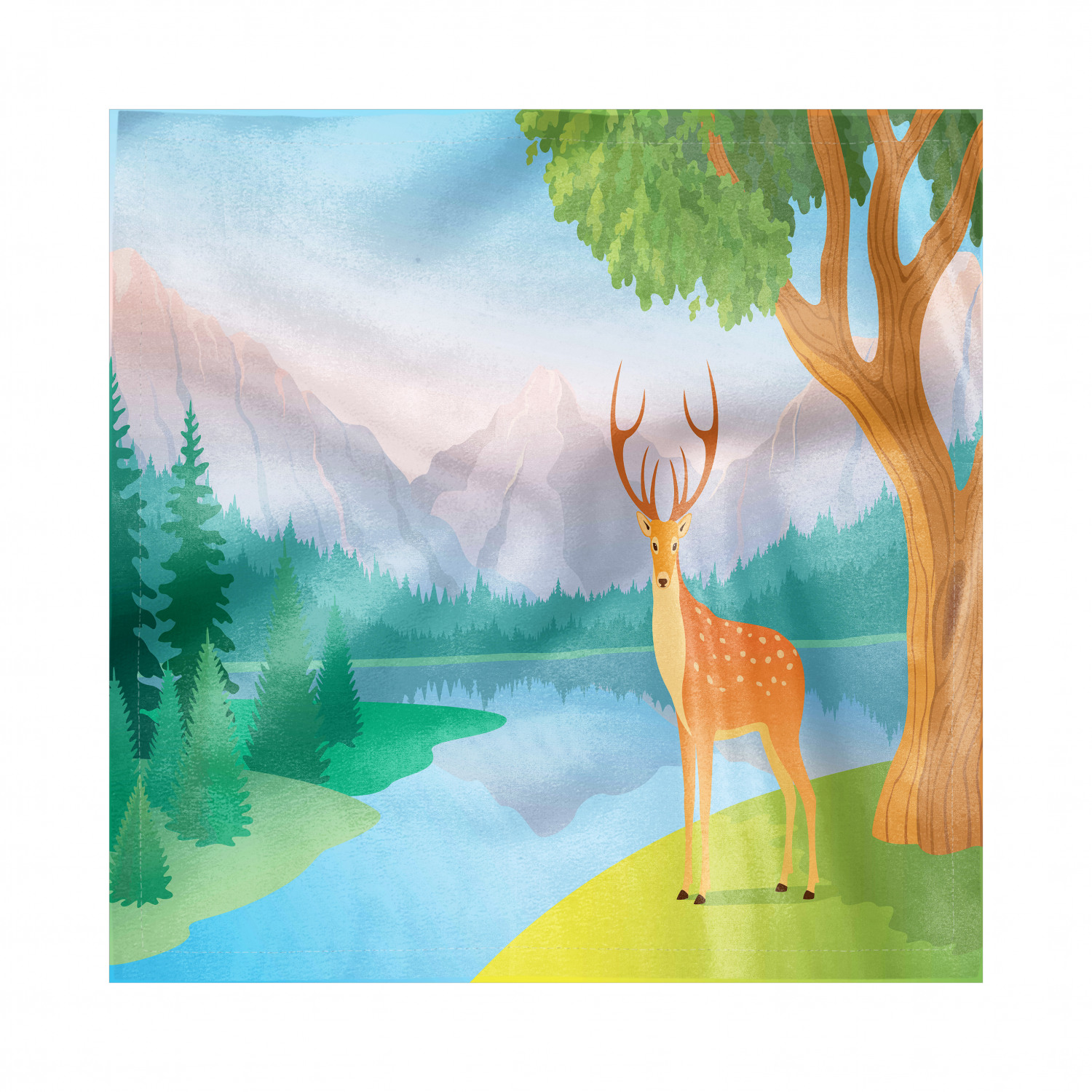 Lake Forest Napkins Set Of 4 Deer Next To Lake Mountain Forest Landscape Nature Illustration Silky Satin Fabric For Brunch Dinner Buffet Party By Ambesonne Walmart Com Walmart Com