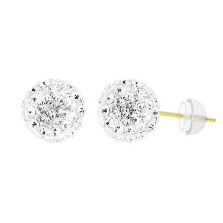 Vintage Austrian Crystal (14k Yellow Gold Womens 8mm White Austrian Crystal Ball Studs Earrings)
