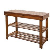 Mllieroo Bamboo 2 Tier Shoe Rack Storage Bench Organizer Entryway Organizing Shelf with Storage Drawer Amber