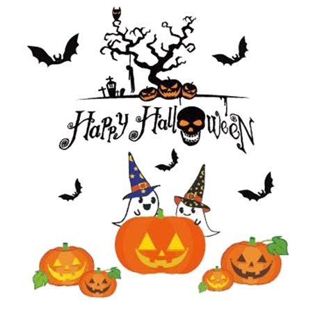 Happy Halloween Pumpkins Spooky Cemetery Witch and Bats Tomb Wall Decals Window Stickers Halloween Decorations for Kids Rooms Nursery Halloween Bar Party (Number 8) - West Hollywood Halloween Parties 2017