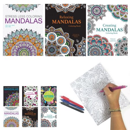 3 Mandala Adult Coloring Books Calming Stress Relieving Relax Designs - Mandala Coloring Sheet