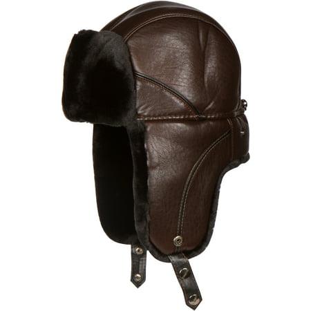 Sakkas Samy Adjustable Aviator Ushanka Trapper Hat Faux Fur Warm Soft Water-resist - Brown -