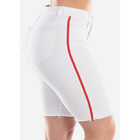 Womens Juniors Fashion High Waisted Stretchy Side Stripe White 1 Button Raw Hem Denim Bermuda Shorts 10678Z