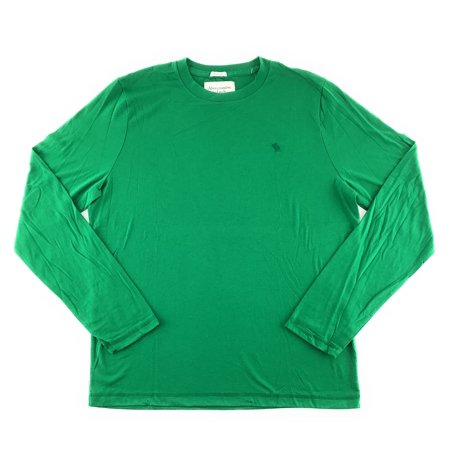 Mens Long Sleeve T-shirt Green Solid 0798 X-Large