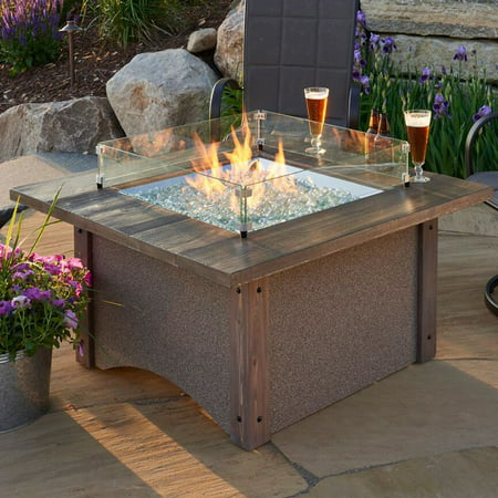 Outdoor GreatRoom Pine Ridge 43 in. Square Fire Pit Table with Free Burner Cover and Optional Glass Guard